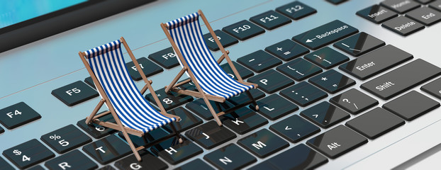 Deck chairs on a computer laptop, banner. 3d illustration Wall mural