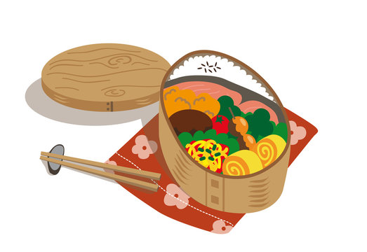 japanese food box with salmon and varieties of foods isolated on white