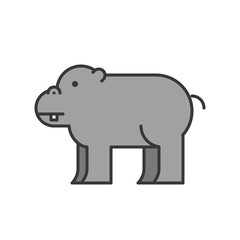 hippopotamus, African animal in zoo icon set, filled outline design