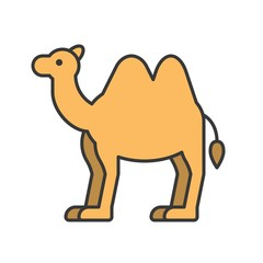 camel, animal in zoo icon set, filled outline design