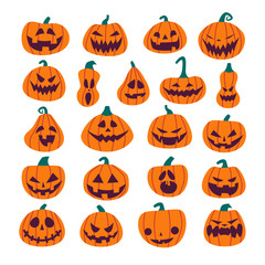 Set of Halloween scary pumpkins. Flat style spooky creepy pumpkins