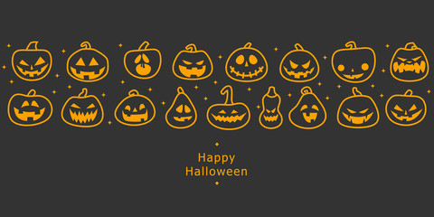 Happy halloween banners. Flat designed row of pumpkins