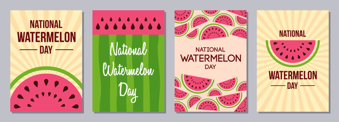 Set of flyers, posters, banners, placards, cards, brochure design templates A6 size. Watermelon Day. Slices of watermelon. Texture of the watermelons with seeds. Event name. Vector illustrations.