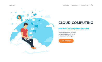 Young man sitting on the cloud in the sky and working with laptop. Flat concept vector website template and landing page design of social networking and texting to friends, working or studying online