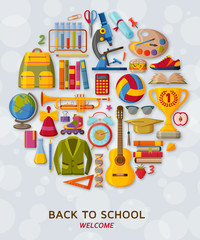 Back to school background with 3d paper cut signs. Vector illustration.