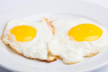 A beautiful photo of a closeup menu of fresh delicious eggs on a plate on a white background
