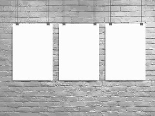 Vector Three poster mockup white brick wall, Loft workspace concept
