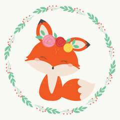 Cute fox vector illustration. Hand drawn art.