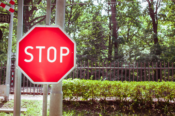 red stop sign on the street background. Street photography