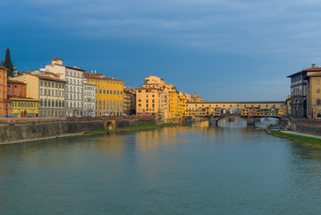 Ponte Vecchio Bridge over Arno river in Florence, Italy