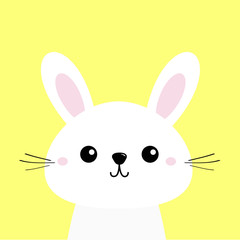 White bunny rabbit. Cute kawaii cartoon character. Funny head baby face. Big ears. Greeting card template. Happy Easter sign symbol. Yellow background. Flat design.