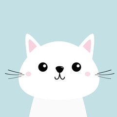 White cat kitten Funny head baby face. Moustaches. Cute kawaii cartoon character. Pink cheeks. Greeting card template. Blue background. Flat design.