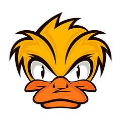 Cartoon evil face duck on the grey background. Vector eps 10