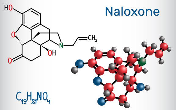 Naloxone molecule. It is used to block the effects of opioids, especially in overdose. Structural chemical formula and molecule model