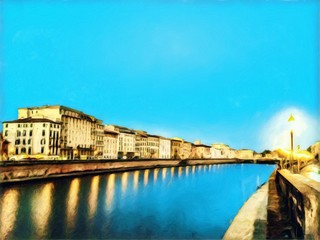 View at river Arno in Pisa, Italy. Old houses at embankment. Italian canal. Big size oil painting fine art. Modern impressionism drawn artwork. Creative artistic print for canvas, poster or paper.