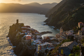 Vernazza at sunset, one of colorful villages of Cinque Terre, Italy