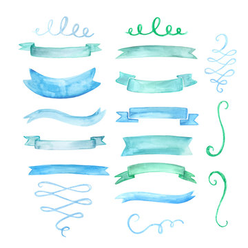 Set of watercolor ribbons, banners and decorative swirls in blue. Hand drawn isolated design elements.