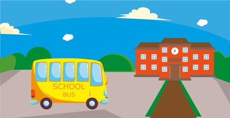 School bus in the school yard.