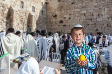 Jewish boy in white skullcap