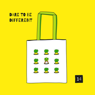 Tote canvas bag design. Fashion textile prints for kids.