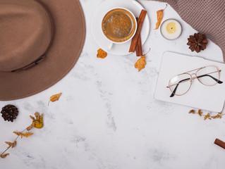 Autumn accessories flat lay