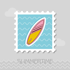 Surfboard on the water stamp. Summer. Vacation