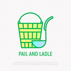 Pail and ladle thin line icon. Modern vector illustration,