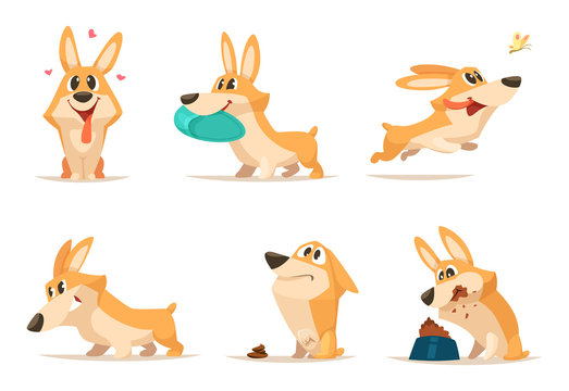 Various illustrations of funny little dog in action poses