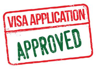 Visa Application Approved. Vector Rubber Stamp.