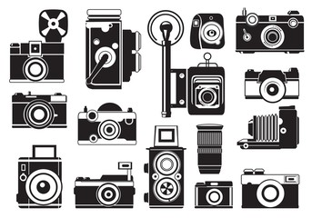 Pictures set of retro cameras. Vector monochrome illustrations