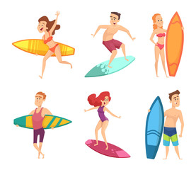 Summer surf characters. Vector funny mascots in various action poses