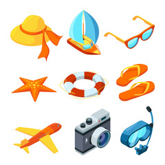 Summer time isometric. Travelling vector symbols