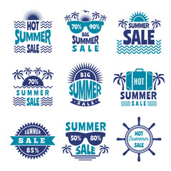 Badges of summer sale. Vector advertising pictures