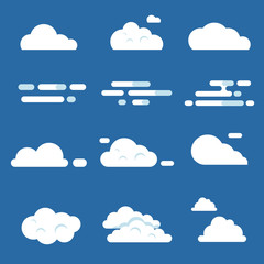 Vector flat illustrations of various clouds