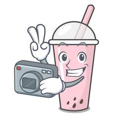 Photographer raspberry bubble tea character cartoon