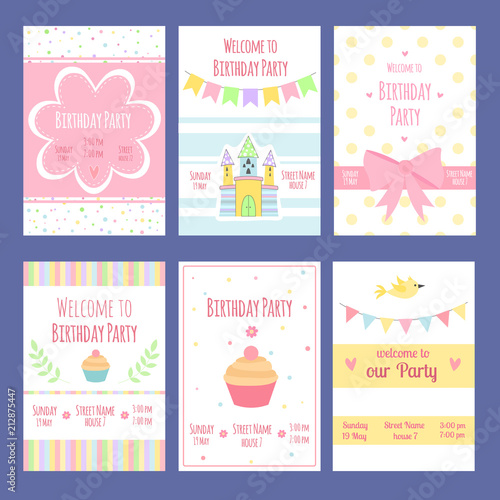 Birthday Invitation Cards Vector Template With Place For