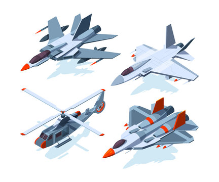 Military aircrafts isometric. 3D airplanes isolate on white