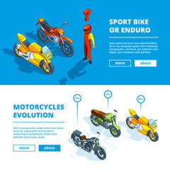 Motorcycles banners. Vector template design of horizontal banners for motorsport