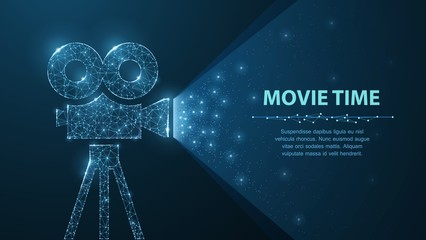 Polygonal wireframe movie projector show film at night on dark blue with stars in him light.