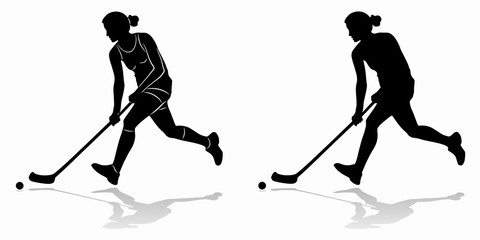 silhouette of floorball player, vector draw