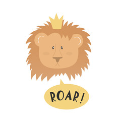 A cute lion face with crown and text - Roar!