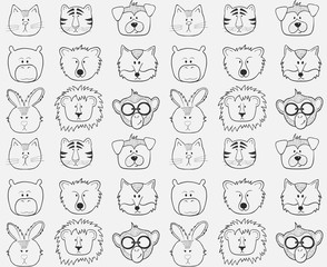 Seamless pattern with animals heads.