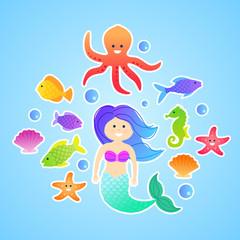 Set of cute cartoon vector mermaid underwater stickers
