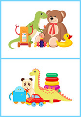Robot and Dinosaurs Toy Set Vector Illustration