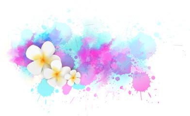 Background with watercolor splashes and tropical flowers