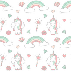 cute lovely magic seamless vector pattern background illustration with unicorn