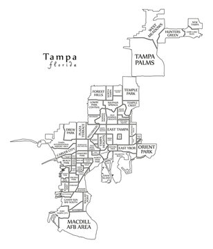 Modern City Map - Tampa Florida city of the USA with neighborhoods and titles outline map