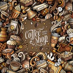 Cartoon vector doodles Coffee frame