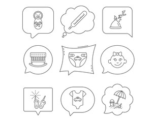 Newborn clothes, diapers and sleep hat icons.