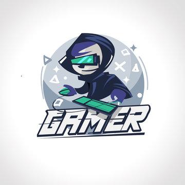 Gamer boy character design in actions. Gamer logo - vector